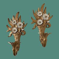 Pair of 1975 Homco Ornate Candle Wall Sconces