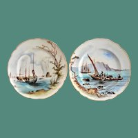 Pair of 19th Century Fischer & Mieg Hand Painted Boats Scene Display Plates