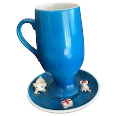 Schmid Tackett Cat and Mouse Figures Demitasse Cup and Saucer
