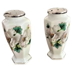 Milk Glass Salt and Pepper Shakers White Flowers Pattern
