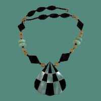 Geometrics Styled Lucite Pendant Necklace 1980