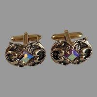 Swank Antiqued Gold Tone Bullet Clasp Rhinestone Cufflinks