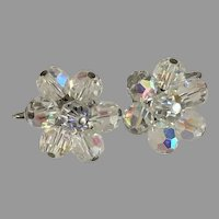 Aurora Borealis Crystals Clip Earrings