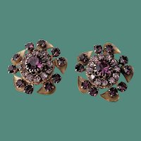 Three Tiered Purple Rhinestones Clip Earrings