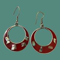 Mexico Alpaca Red Enamel and Shell Inlay Hoop Earrings