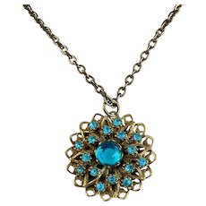 Turquoise Blue Cabochon and Rhinestones Filigree Floret Pendant Necklace