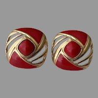 Trifari Red Enamel Gold Tone Post Earrings