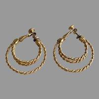 Napier BOHO Woven Rope Motif  3 Hoop Earrings 1970's