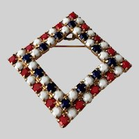 Red White and Blue Glass Stones Brooch Pin