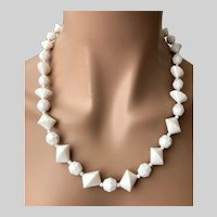 Signed Austria Summer White Bicone Beads Necklace