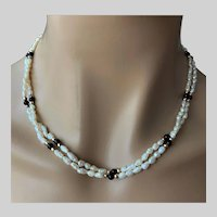 Double Strand Keshi Fresh Water Pearls and Beads Necklace