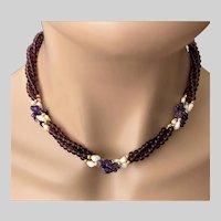 Triple Strand Torsade Beaded Necklace Amethyst Stone Fresh Water Pearls