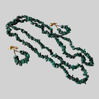 Green Malachite Stone Long 35.5 Inch Necklace and Hoop Earrings Set