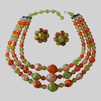 Crackle Beads Fall Color Three Strand Necklace with Clip Earrings