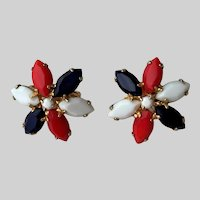 Red White and True Navy Blue Clip Earrings