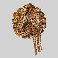 Chain Tassel  Domed Brooch Pin with Topaz Olivine Cognac Rhinestones