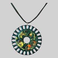 Hippie Culture Mid Century Era Large Enameled Pendant Necklace