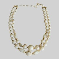 Summer White Abstract Mixed Beads Two Strand Japan Necklace