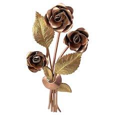 Coro Pegasus Mid Century Bi-Color Roses Bouquet Brooch Pin
