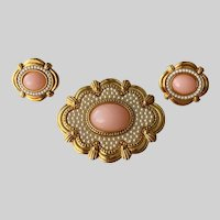 """Avon """"Victorian Spring"""" Revival Brooch Pin and Clip Earrings Set"""