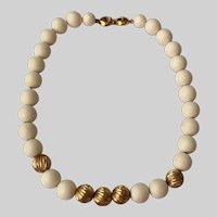 Monet Bisque White Round Beads Choker Necklace