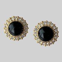Black Cabochon Rhinestone Post Earrings