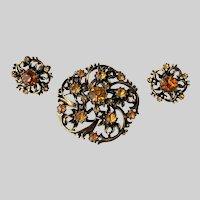 Coro Mid Century Amber Rhinestones Pin and Earrings Set Book Piece
