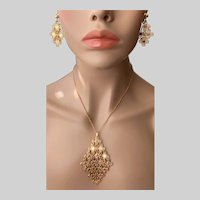 """""""Golden Petals"""" 1971 Sarah Coventry Necklace and Earrings Set"""