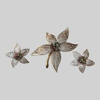 Trembler Poinsettia Flowers Brooch and Earrings Set with Colored Rhinestones