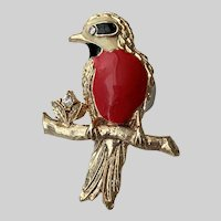 Colorful Red Breasted Bird Figure Pin