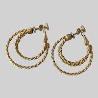 Napier BOHO Woven Rope Motif  Three Hoop Earrings 1970's