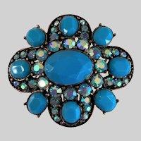 Liz Claiborne Turquoise Aurora Borealis Rhinestones Pin