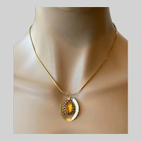 Mid Century Modern Topaz Glass Oval Dog Tooth Necklace Pendant with Herringbone Chain