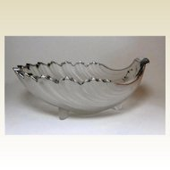 Antique,French,   Frosted  Glass Shell with Sterling Silver