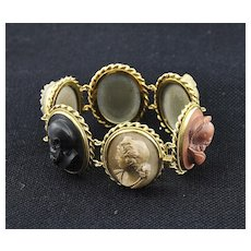 MASTERPIECE! Antique Italian Hand Carved Lava Cameo's with 18K Gold Bracelet