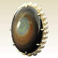 Magnificent, Obsidian with Pearls 14kt Yellow Gold