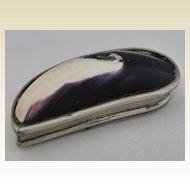 Rare!   Antique English, Silver Cowrie Shell Snuff Box