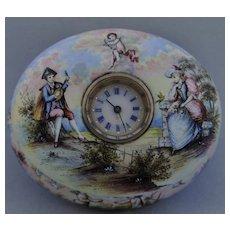 Rare Porcelain with Jewels Timepiece Casket, Vienna circa 1800