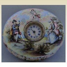 Exquisite and Rare Porcelain & Jewelled Timepiece Casket, Vienna circa 1800