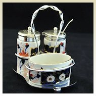 Antique English, Highly Decorative  Staffordshire Condiment Set circa 1820
