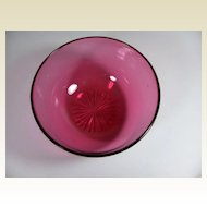 Antique English, Hand Blown Cranberry Glass Bowl, 19th century