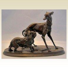 """ANTIQUE, Pierre-Jules Mene Bronze Sculpture Two Dogs , """" Deux Chien"""""""