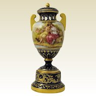 Antique  Vienna Porcelain Polychrome Enamel Pedistal  Urn, 19th century