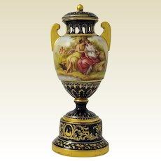 Antique  Vienna Porcelain Polychrome Enamel Pedistal  Urn, 19th century
