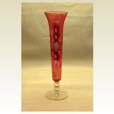 Antique & Exquisitely  Etched Cranberry Bud Vase cira late 1800