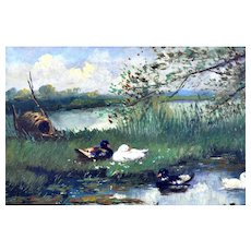 ANTIQUE Oil on Board,  George Van (Geo.)  Poggenbeek  Dutch, circa 1853- 1903