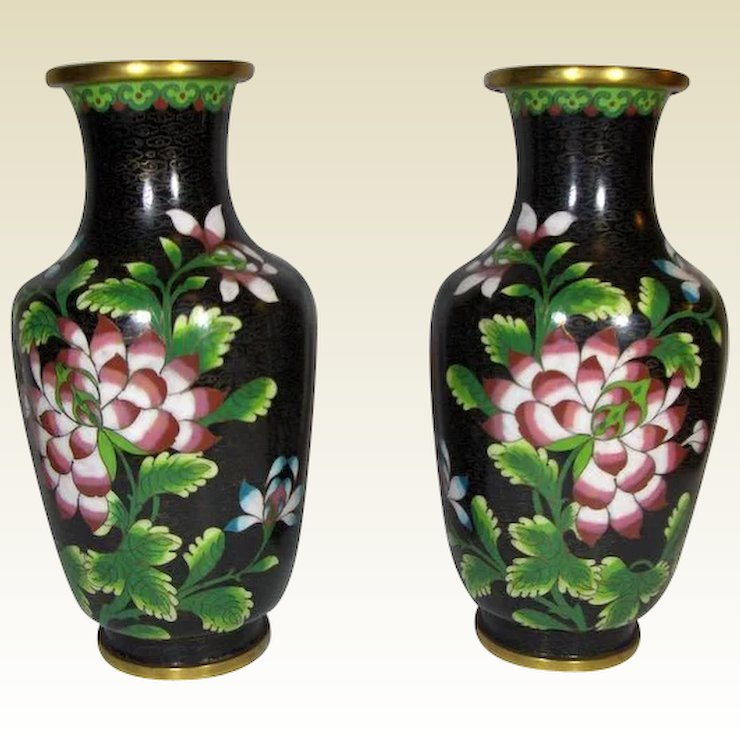 Antique Chinese Black Cloisonne Floral Vases 19th Century Dolces