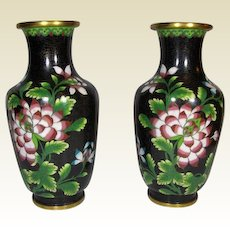 ANTIQUE, Chinese Black Cloisonne Floral  Vases 19th century