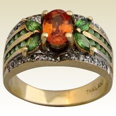 VINTAGE & STUNNING, Large Citrine with Peridot and Diamonds