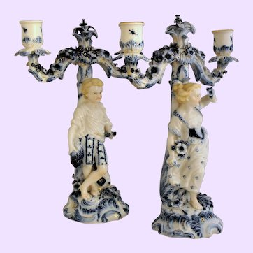 "Antique Pr. of ""Seasons"" Figural Candelabra 19th Century"